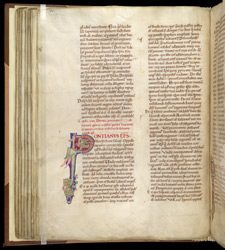 Zoomorphic Inhabited Initial, In Pseudo-Isidore's 'Papal Decrees' f.50v